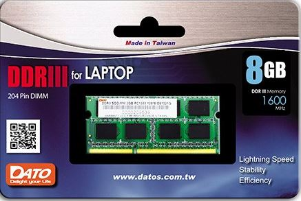 Ram Laptop DATO DDR3 PC3L 8GB bus 1600MHz