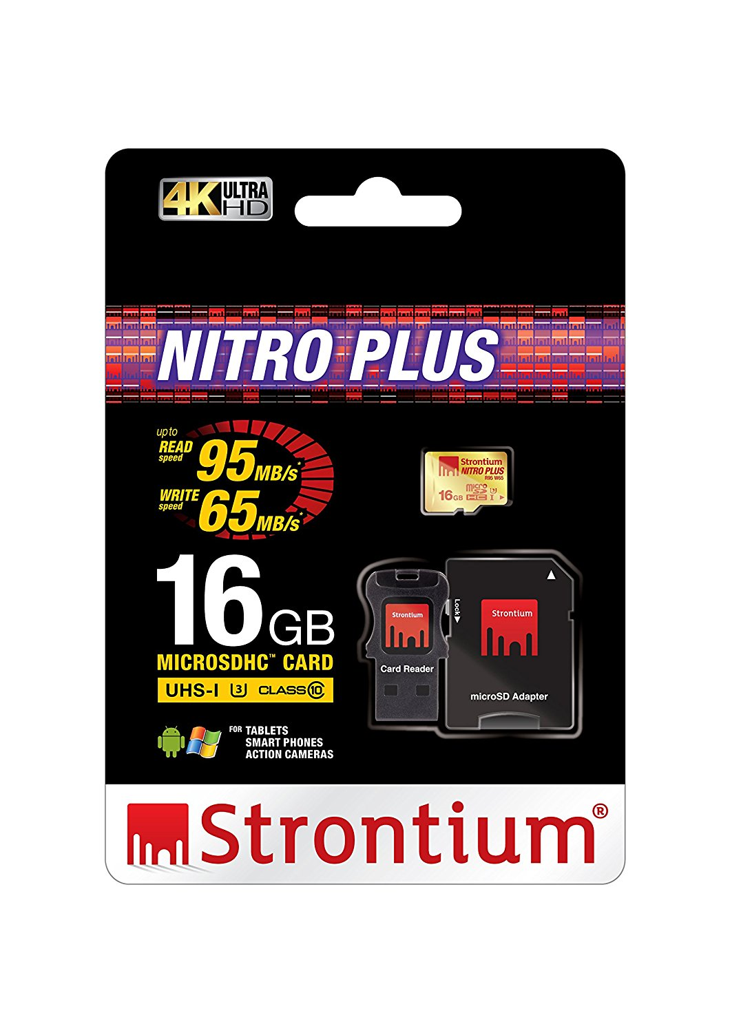 Thẻ nhớ Strontium MicroSD Nitro Plus UHS-1 U3  có Adaptor & USB Card Reader (Support 4k) 16Gb