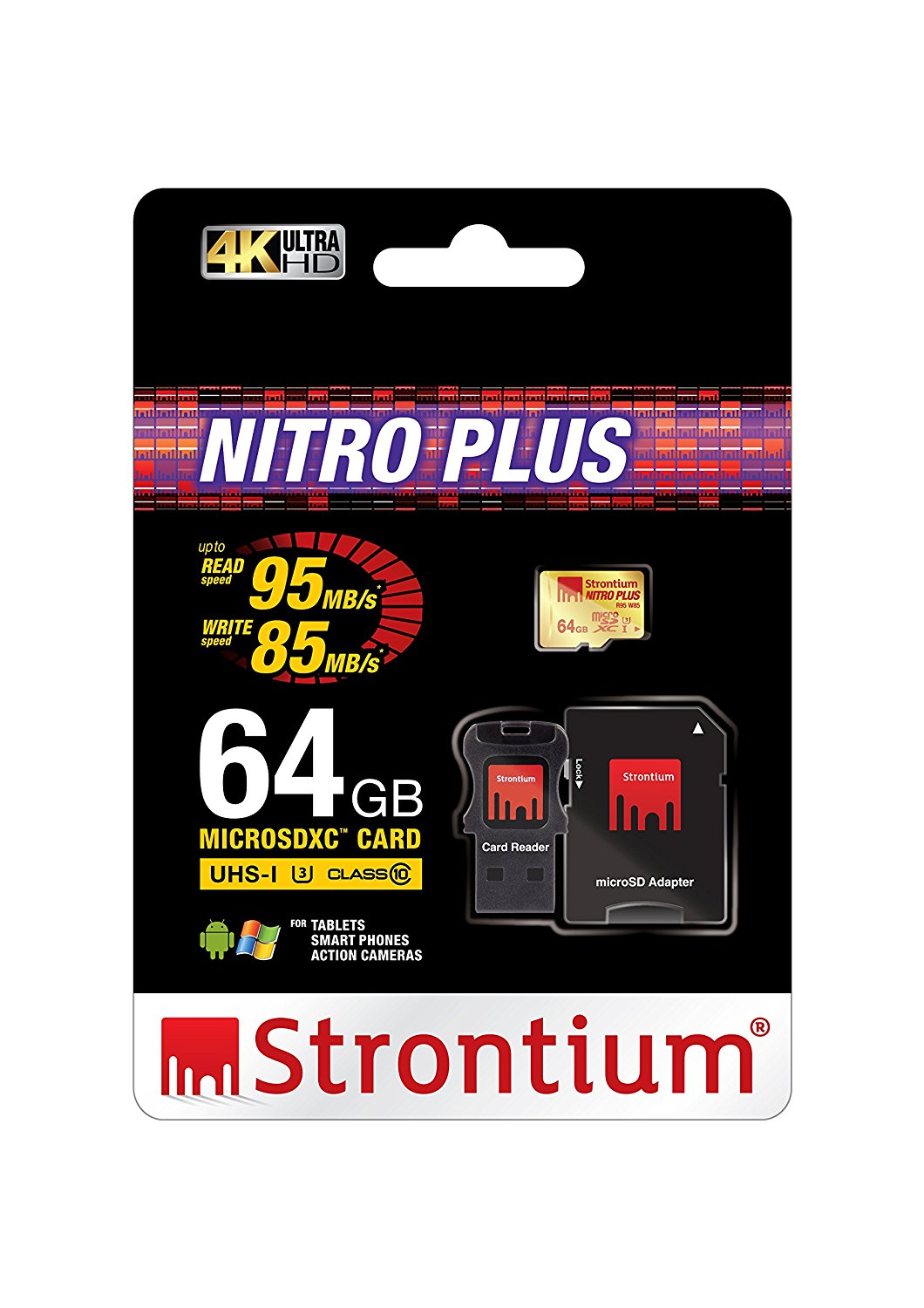 Thẻ nhớ Strontium MicroSD Nitro Plus UHS-1 U3 có Adaptor & USB Card Reader (Support 4k) 64Gb