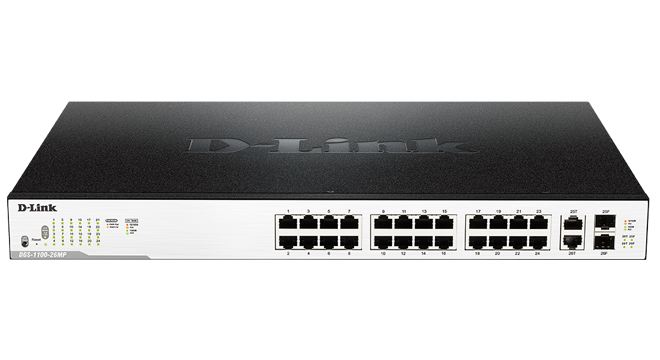 26-Port Surveillance Switch with 24 PoE and 2 Combo RJ45/SFP ports (370W PoE budget)