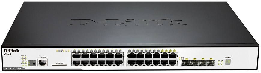 24-Port Gigabit L2 Stackable Managed PoE Switch D-Link DGS-3120-24PC/ESI