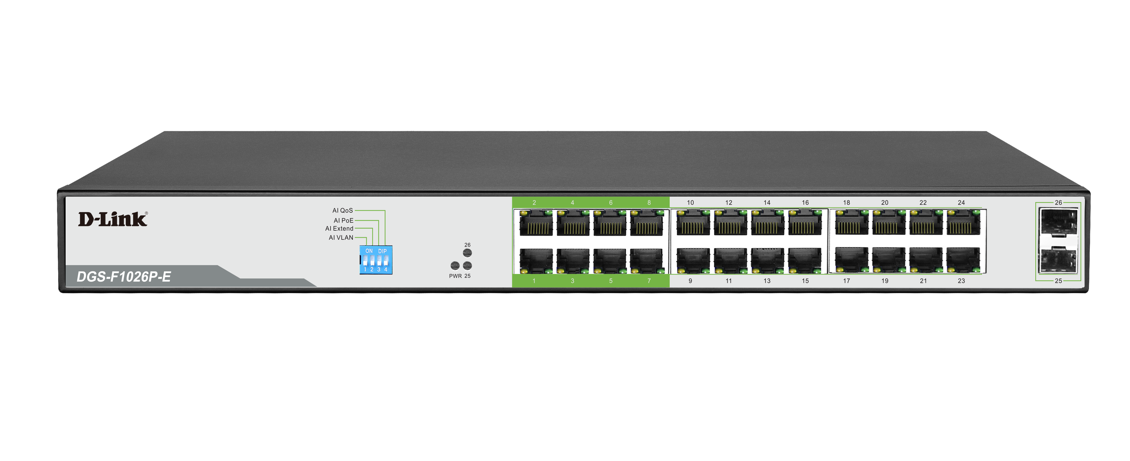 DGS-F1026P-E 250M 24-Port 1000Mbps PoE Switch with 2 SFP Ports